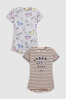 Unicorn And Stripe Nighty Two Pack (3-16yrs)