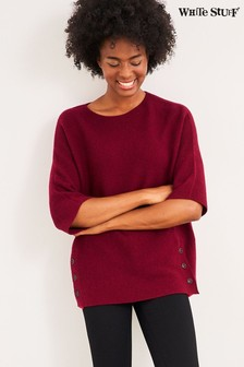 White Stuff Red Beech Rib Button Side Jumper