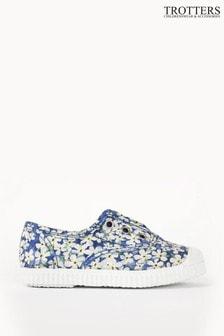 Trotters London Blue Plum Liberty Petal Wish Canvas Shoes