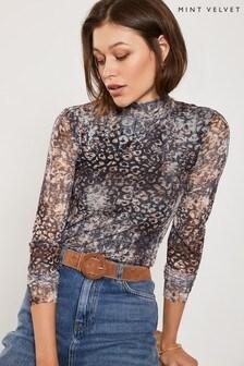 Mint Velvet Leopard Abstract Leopard Mesh Top