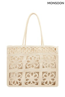 Monsoon Natural Victory Vintage Crochet Shopper Bag