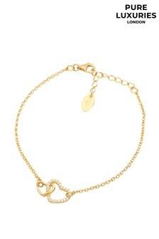 PureLuxuries London Cecelia Plated Sterling Heart Bracelet