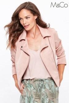 M&Co Pink Suedette Biker Jacket