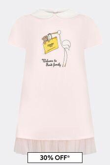 Fendi Kids Baby Girls Pink Cotton Dress