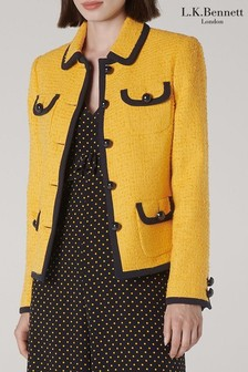 L.K.Bennett Yellow Anita Tweed Jacket