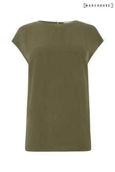 Warehouse Green Satin Tip Sleeveless T-Shirt
