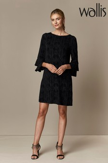 Wallis Black Diamond Sparkle Double Flute Sleeve Dress