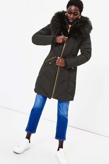 Oasis Black Albany Long Padded Coat