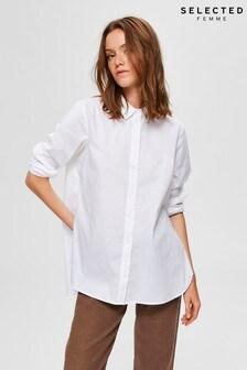 Selected Femme White Side Zip Shirt