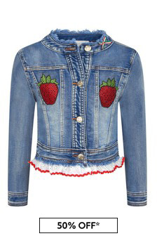 Monnalisa Girls Blue Cotton Jacket