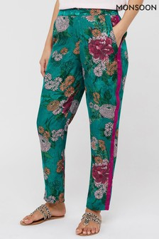 Monsoon Blue Ola Oriental Print Trousers