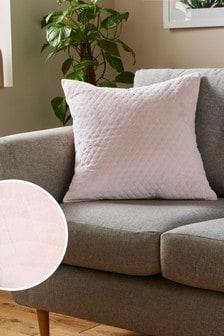 Blush Pink Velvet Quilted Hamilton Square Cushion