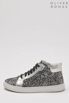 Oliver Bonas Glitter Lace-Up High Top Trainers