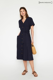 Warehouse Blue Linen Shirt Midi Dress