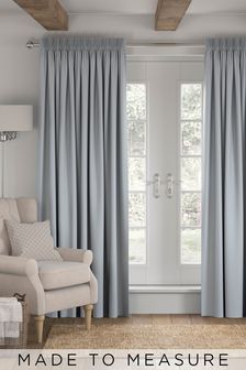 Made To Measure Light Blue Cotton Curtains