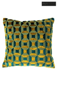 Empire Geo Velvet Jacquard Cushion by Riva Home
