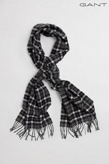 GANT Grey Checked Twill Wool Scarf
