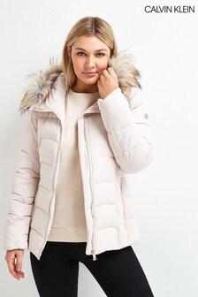 Calvin Klein Pink Faux Fur Hooded Down Jacket