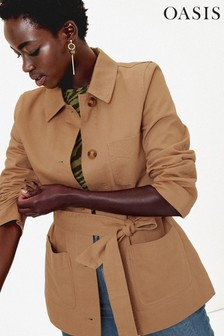 Oasis Tan Belted Utility Jacket