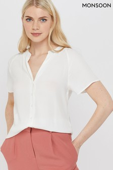 Monsoon Cream Zinnia Short Sleeve Blouse