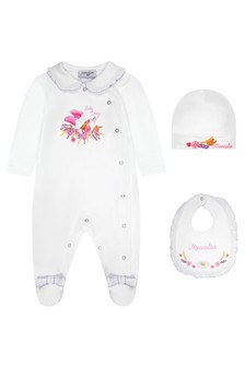 Monnalisa Baby Girls White Cotton Girls Baygrow Gift Set