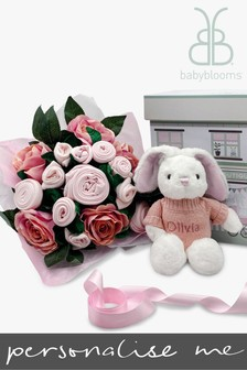 Babyblooms Luxury Pink Baby Clothes Bouquet and Personalised Baby Bunny Soft Toy