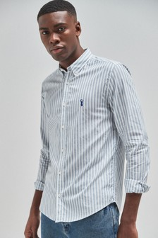 Stripe Roll Sleeve Stag Shirt