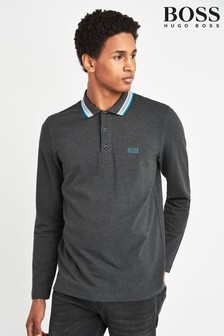BOSS Grey Plisy Long Sleeve Polo