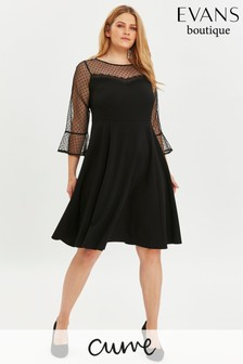 Evans Curve Black Mesh Swing Dress