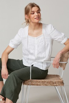Lace Insert Square Neck Top
