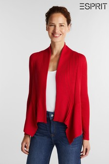 Esprit Red 3 Open Ribbed Cardigan