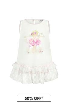 Monnalisa Baby Girls White Cotton Top
