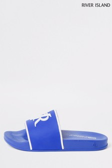 River Island Blue Sliders
