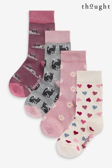 Thought Pink Kitty Kids 4 Pack Sock Box