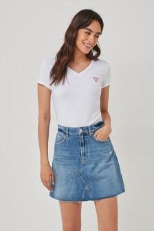 Guess V-Neck Mini Logo T-Shirt