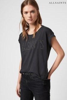 AllSaints Black Star Studded Pina T-Shirt