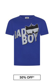 Karl Lagerfeld Boys Blue Cotton T-Shirt