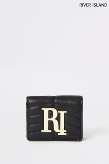 River Island Black Mini Quilted Foldout Bag