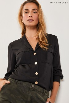 Mint Velvet Black Collar Reverse Blouse