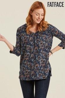 Bluză lungă FatFace Cressida albastru închis cu model floral