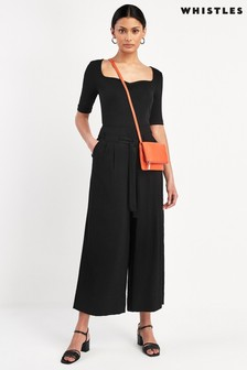 Whistles Black Belted Casual Trousers