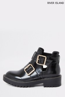 River Island Black Quince Cut Out Chunky Boots