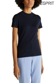 Esprit Blue Short Sleeved Sweater With Turtleneck