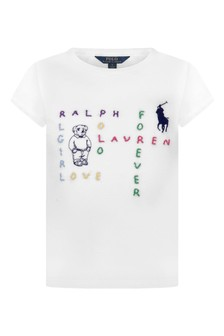Girls White Cotton Jersey T-Shirt