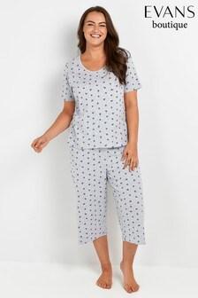 Evans Curve Grey Floral Polka Dot Print Pyjamas