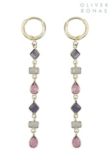 Oliver Bonas Purple Playful Mixed Shape Huggie Earrings