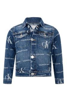 Calvin Klein Jeans Blue Cotton Denim Logo Jacket