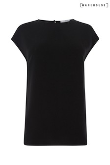 Warehouse Black Satin Tip Sleeveless T-Shirt