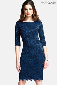 HotSquash Navy Long Sleeved Lace Dress