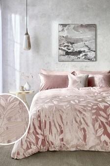 Pink Luxurious Cut Velvet Gradient Leaf Duvet Cover and Pillowcase Set